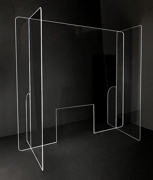 Paneled Acrylic Sneeze Guard with Cutout - Photo