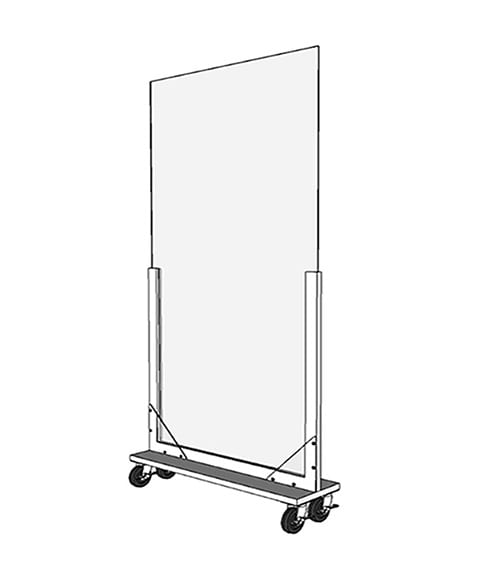 Portable Acrylic Divider - Acrylic Guard with Caster Wheels Render