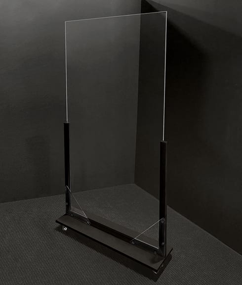 Portable Acrylic Divider (Black) - Acrylic Guard with Caster Wheels