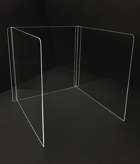 3-Sided Desk Shield - Plexiglass Dividers and Shields for Students Classrooms Businesses Healthcare - Photo